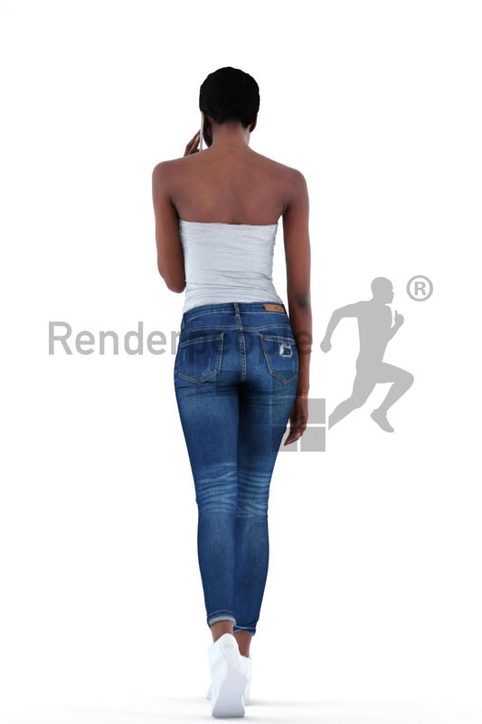 3d people casual, black 3d woman walking and calling a friend