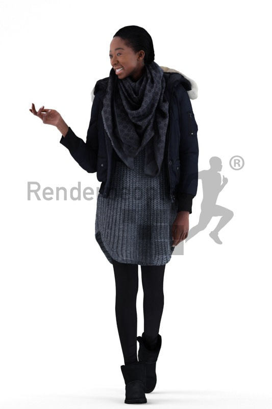 3d people casual, black 3d woman walking and talking