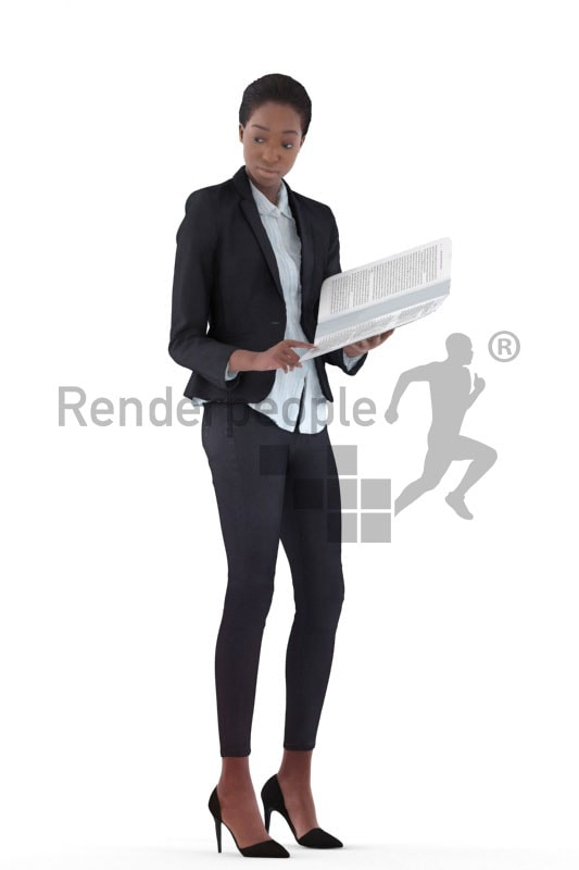 3d people business, black 3d woman holding folder
