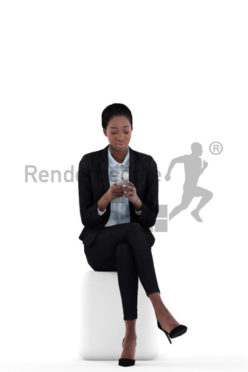 3d people business, black 3d woman sitting and texting