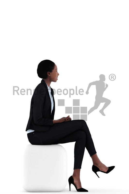 3d people business, black 3d woman sitting and smiling