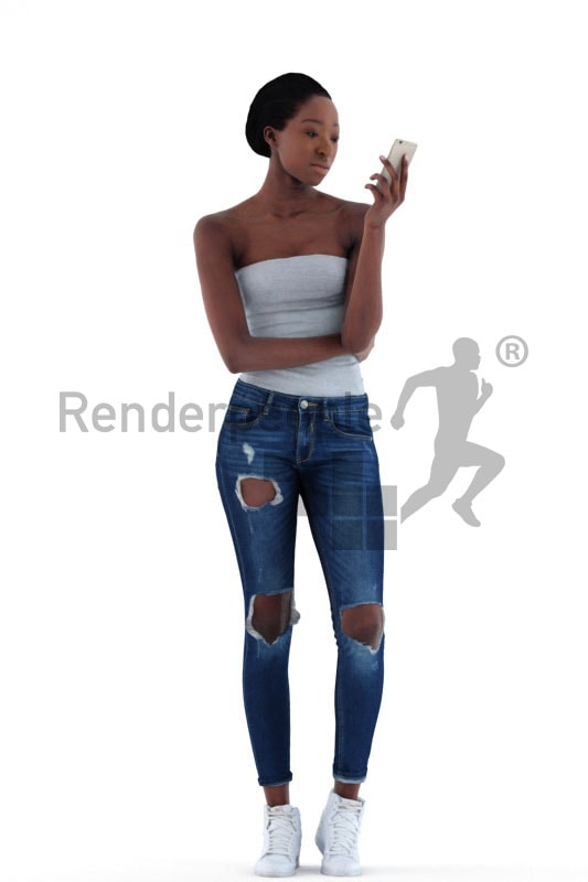3d people casual, black 3d woman standing and looking at her phone