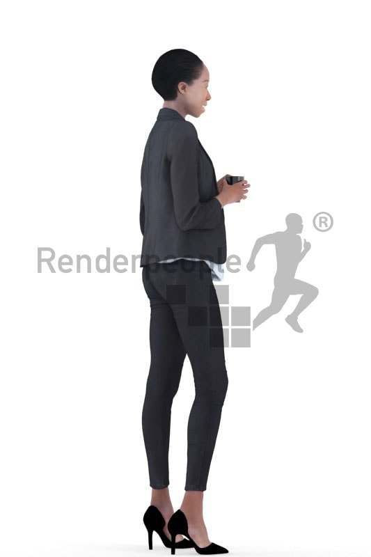3d people business, black 3d woman standing and holding a cup
