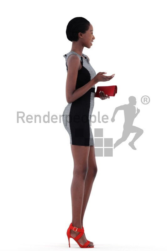 3d people event, black 3d woman standing and holding a purse