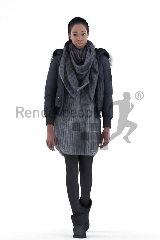 3d people casual, black 3d woman walking
