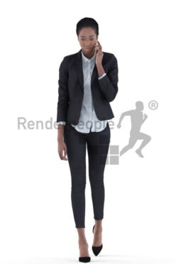 3d people business, black 3d woman standing and calling somebody