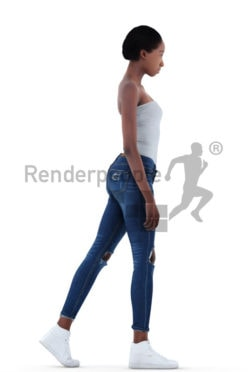 3d people casual, black 3d woman walking
