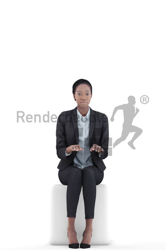 3d people business, black 3d women sitting and typing