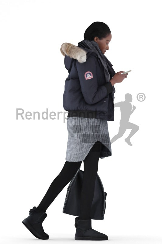 3d people casual, black 3d woman walking and carrying a bag and typing on her smartphone