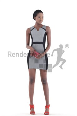 3d people evening, black 3d woman holding her wallet