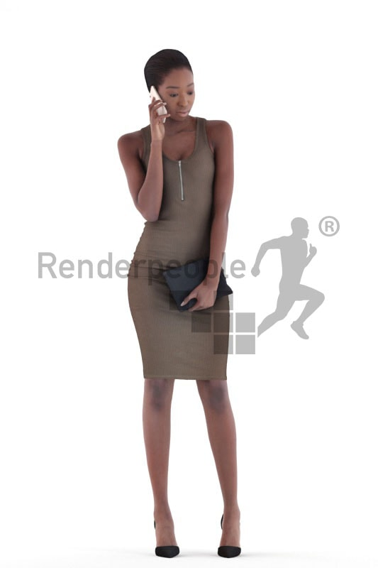 3d people evening, black 3d woman standing and calling