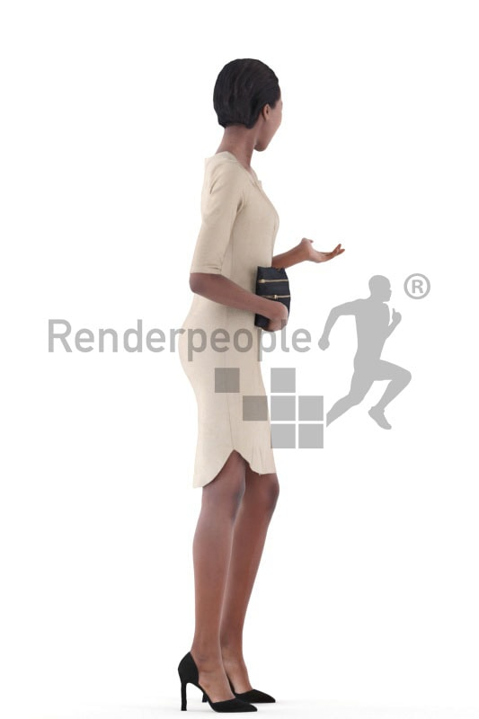 3d people evening, black 3d woman standing and talking