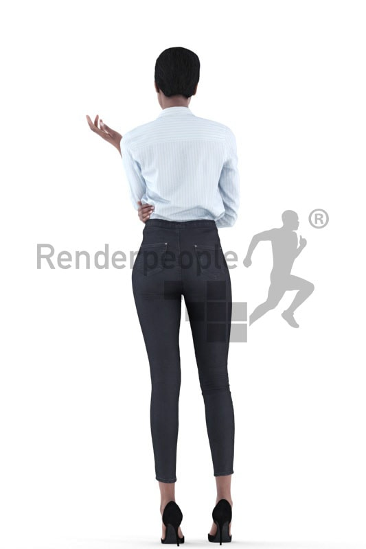 3d people business, black 3d woman standing and talking