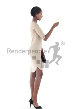 3d people evening, black 3d woman standing and drinking