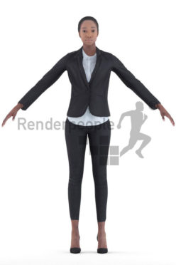 rigged 3d people, black rigged 3d woman