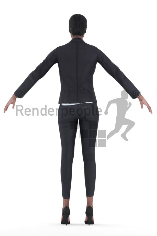 3d people rigged, black woman standing in a-pose