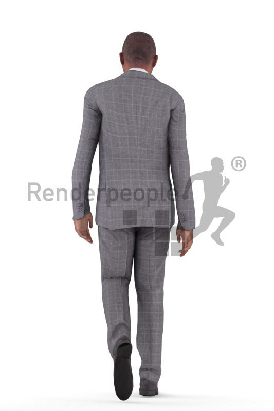 Animated 3D People model for realtime, VR and AR – elderly black man in business suit, walking