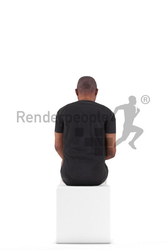 Animated 3D People model for realtime, VR and AR – elderly black man, daily clothes, sitting