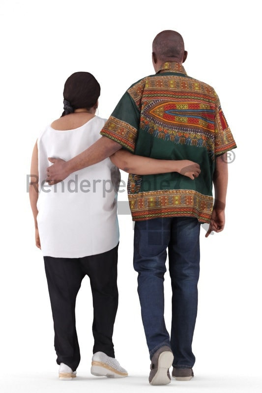 3d people casual, black 3d man couple group walking