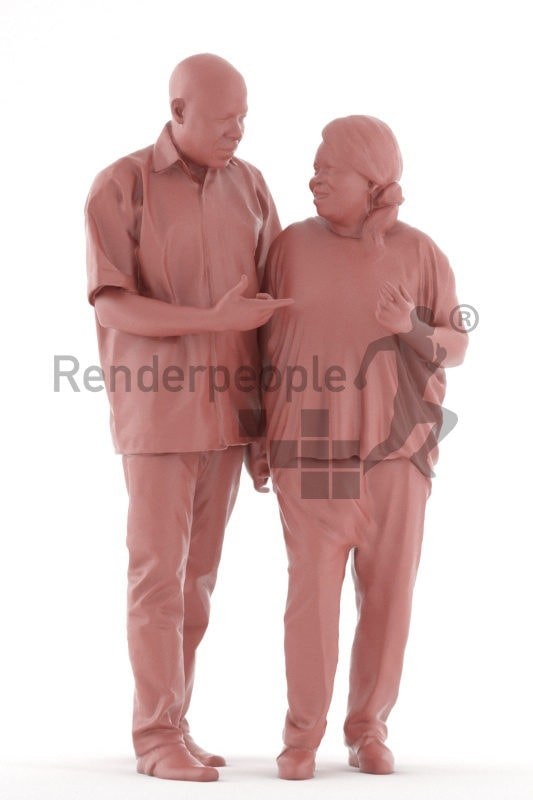 3d people casual, black 3d man couple group talking