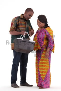 3d people casual, black 3d man couple group standing and shopping