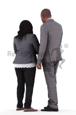 3d people business, black 3d human couple group holding tablet