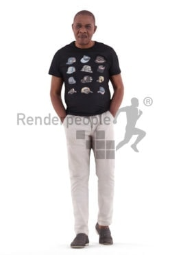 3d people casual, black 3d man walking