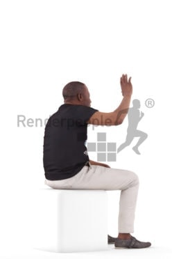 3d people casual, black 3d man sitting and waving