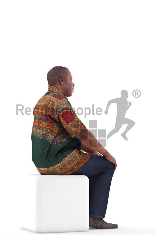 Scanned 3D People model for visualization – best ager black man in traditional shirt, sitting and listening