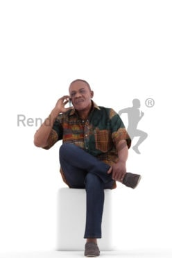 3d people casual, black 3d man sitting and calling somebody