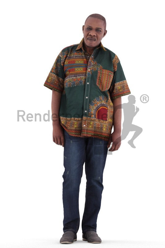 Scanned 3D People model for visualization – elderly black man in traditional shirt, standing