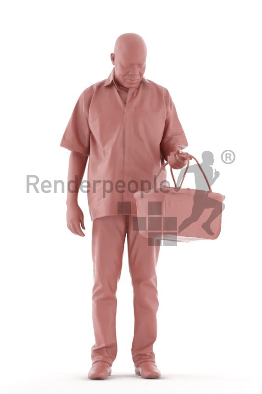 3d people casual, black 3d man standing and holding shopping cart