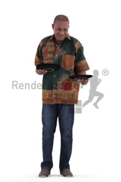 3d people casual, black 3d man standing and holding plates