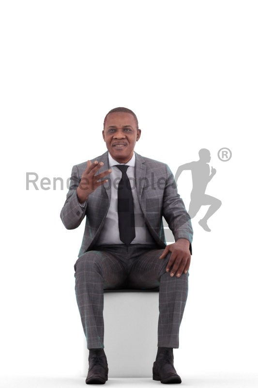 3d people business, black 3d man standing and holding plates