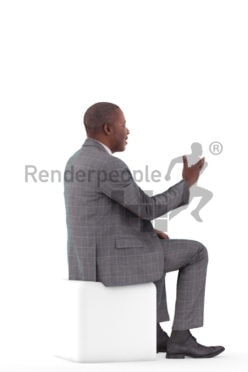 3d people business, black 3d man sitting and talking