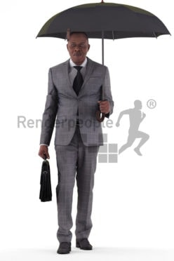 3d people business, black 3d man walking and holding umbrella