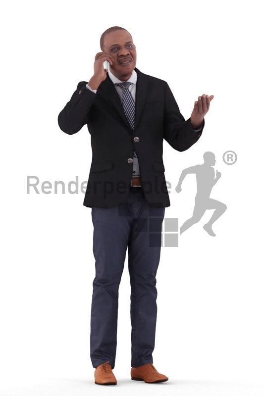 3d people business, black 3d man standing and talking