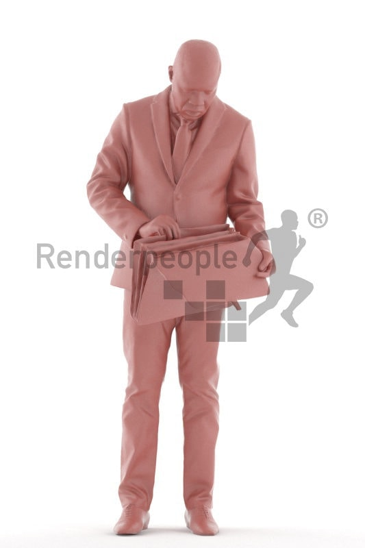 3d people business, black 3d man standing and holding briefcase