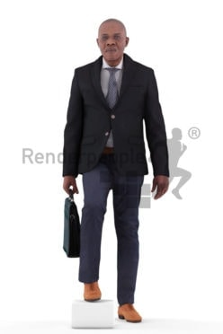 3d people business, black 3d man walking and climbing stairs