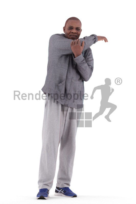 3d people sport, black 3d man standing and stretching