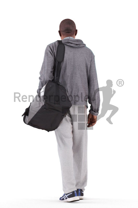 3d people sport, black 3d man walking and carrying sports bag