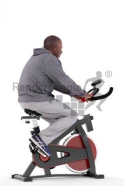 Scanned human 3D model by Renderpeople – elderly black man in sportswear, using an ergometer