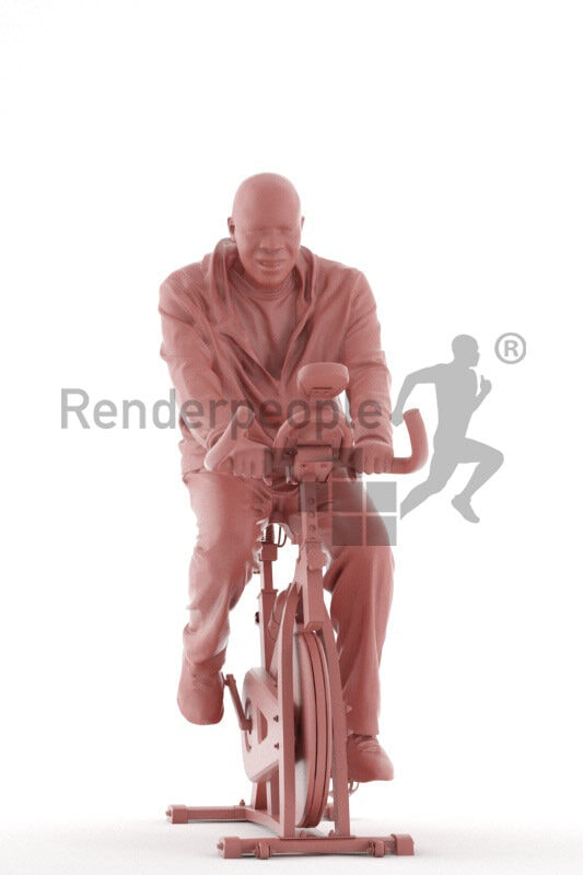 Scanned human 3D model by Renderpeople – elderly black man in sportswear, using an ergometer