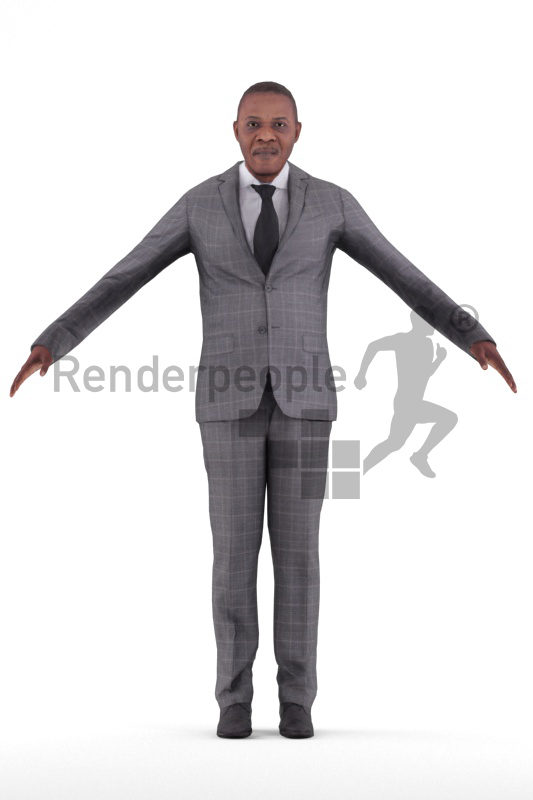 Rigged and retopologized 3D People model – elderly black man in business suits