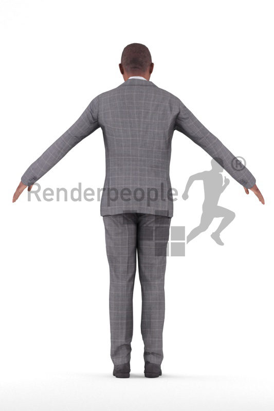 Rigged and retopologized 3D People model – older black man in business suits