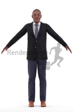Rigged human 3D model by Renderpeople – elderly black man in business suit