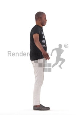 Rigged 3D People model for Maya and Cinema 4D – elderly black man, casual