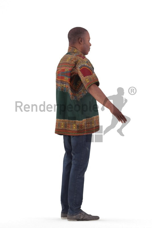 Rigged and retopologized 3D People model, black man in traditional clothing