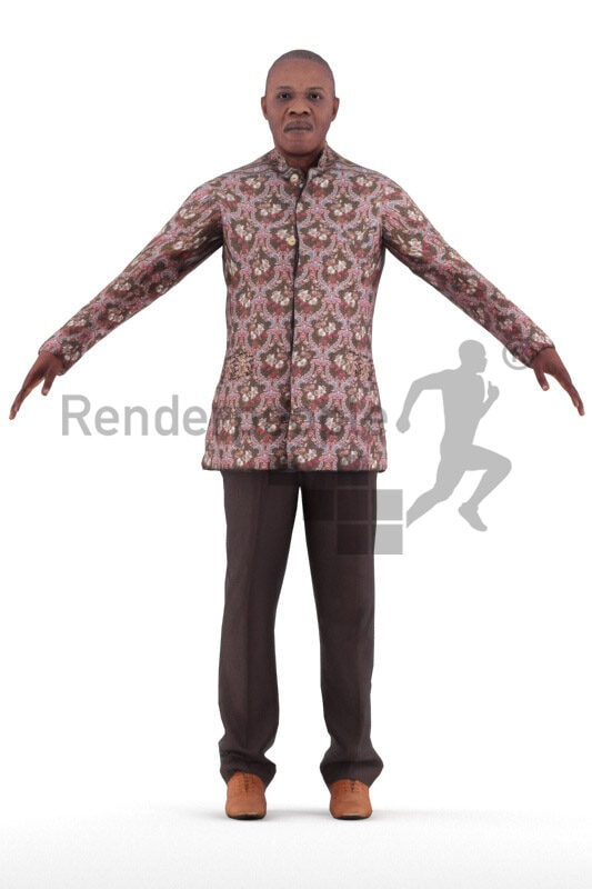 Rigged 3D People model for Maya and 3ds Max – elderly black man in traditional outfit