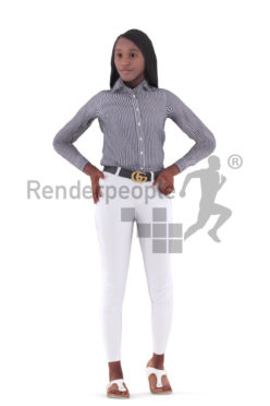 3D People model for animations – black female in business clothes, standing